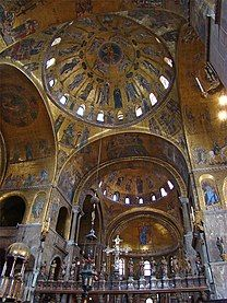 Interior picture of the central dome of St. Mark's Basilica
