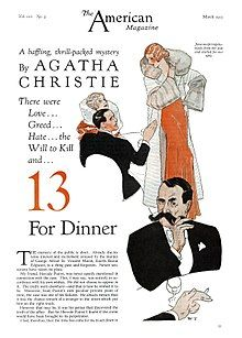 """Drawing of a gentleman in a dinner suit twirling his large moustache, illustrating the Christie story """"13 for Dinner"""""""