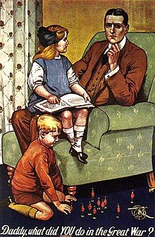 A man sits in an armchair, a girl on his knee. The caption reads: 'Daddy, what did YOU do in the Great War?'