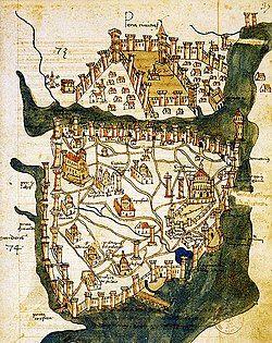 Map of Constantinople (1422) by Florentine cartographer Cristoforo Buondelmonte.jpg