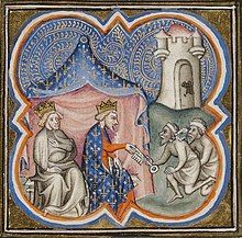 A picture showing King Richard sat beside King Philip II, the latter is receiving a key from two Arabs; a castle, presumably Acre, can be seen in the top right of the picture.