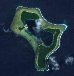 A satellite image of the Pingelap atoll at low-tide. The pale strip in the centre is the airstrip.