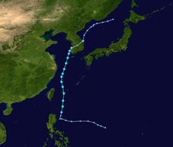 热带风暴丹娜丝的路径图