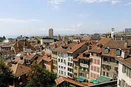 View of the city centre of Lausanne