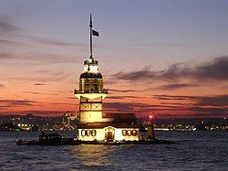 Kızkulesi (Maiden's Tower), off the coast of Üsküdar (Europe is background)