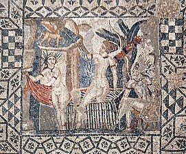 Top-down view of a square mosaic with a geometric border and a square inset showing Diana and her nymph surprised by Actaeon while bathing