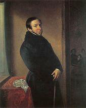 painting of prosperous-looking man in fur-collared black coat