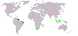 荷兰殖民地,浅绿色是荷兰东印度公司殖民领域,深绿色是荷兰西印度公司殖民领域