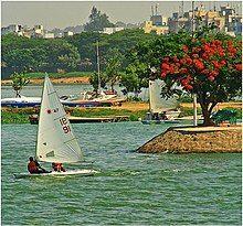 People sailing in the lake regatta