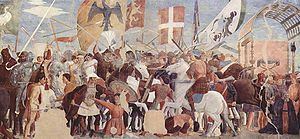 Idealized painting of a battle between Heraclius's army and Persians under Khosrau II ca. 1452