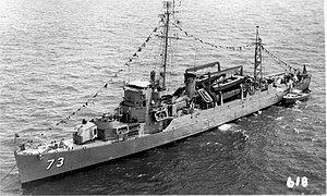 USS Bassett (APD-73) at anchor in the 1950s.jpg