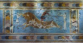 Fresco of an acrobat straddling a bull, with two helpers