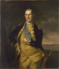 Formal painting of General George Washington, standing in uniform, as commander-in-chief of the Continental Army