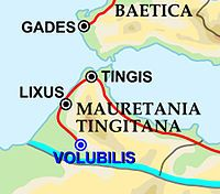 Map of south-western Iberia and the far north-west of Africa with Roman roads and cities marked
