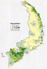 南越人口密度地图