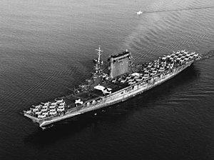 USS Lexington (CV-2) leaving San Diego on 14 October 1941.jpg