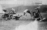 A rollover during a match in a most likely staged circa 1910 photograph by the Bain News service.