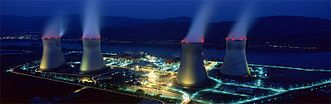 The Cruas nuclear power plant at night