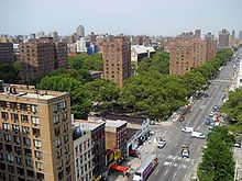 A bird's-eye view of New York City, looking north from 96th Street, along Second Avenue, towards East Harlem. The intersection in view is 97th Street.
