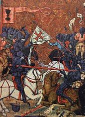 Painting of battle between mounted knights
