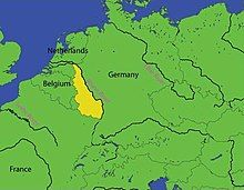 Map of northwest Europe showing France, Germany and the Low Countries. The Yellow area highlights the Rhineland of Germany.