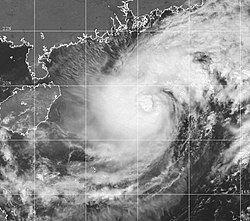 强热带风暴锦雯强度达巅峰时的卫星云图