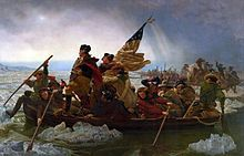 Washington standing up in a freight boat crossing a windy river filled with winter chunks of ice.