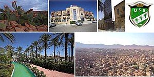 From left to right, and from top to bottom: A fig cactus from Mexico, Sidi Yahia Hotel (4 stars), A CNEP bank, The USB foot club, the Ziban garden park aqua, The Zabs mountains which surround the city.