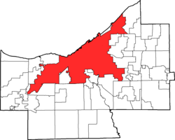 克利夫兰在凯霍加县的位置