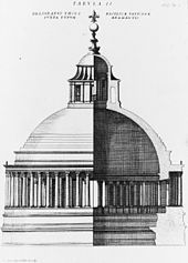 Engraved image in two parts. The left side shows the exterior of the dome, and the right side shows a cross-section. The dome is constructed of a single shell, surrounded at its base by a continuous colonnade and surmounted by a temple-like lantern with a ball and cross on top.