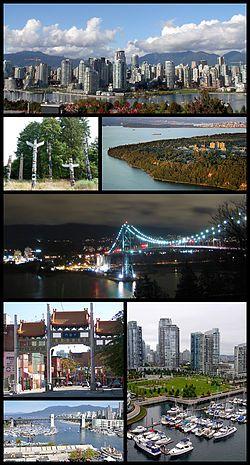 温哥华景象(从上方顺时针方向): 从福溪南岸观望温哥华市中心、大学保留地、狮门桥、从固兰湖街桥观望耶鲁镇、布勒桥、温哥华华埠千禧门牌坊、史丹利公园内的图腾柱