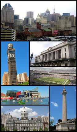 巴尔的摩市中心、爱默生布罗莫-塞尔策塔、巴尔的摩宾夕法尼亚车站、M&T银行竞技场、内港(Inner Harbor)和巴尔的摩国家水族馆、巴尔的摩市政厅、华盛顿纪念碑