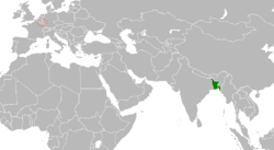 Map indicating locations of Bangladesh and Luxembourg
