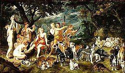 Diana en haar nimfen maken zich klaar voor de jacht (Rubens).jpg