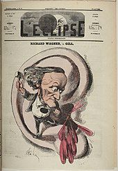 A cartoon showing a misshapen figure of a man with a tiny body below a head with prominent nose and chin standing on the lobe of a human ear. The figure is hammering the sharp end of a crochet symbol into the inner part of the ear and blood pours out.