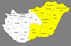 Great Plain and North (NUTS 1) and its constituent counties (NUTS 3)