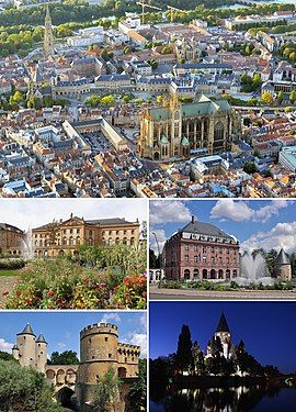 Clockwise from top: overview of city center (with Cathedral of Saint Stephen), Imperial Quarter, Temple Neuf, Germans' Gate, Opéra-Théâtre (place de la Comédie)