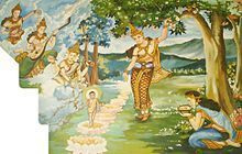 The painting depicts Gautam Buddha taking seven steps immediately after birth; seven lotuses mark his steps. His mother, Maya, watches over him while grabbing on a Sal tree branch for support, gods and angels celebrate the occasion by showering flowers and playing music.