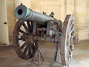 Photo shows a heavy 12-pounder Gribeauval cannon in Les Invalides, Paris.