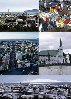 From upper left: View of old town and Hallgrímskirkja from Perlan, rooftops from Hallgrímskirkja, Reykjavík from Hallgrímskirkja, Fríkirkjan, panorama from Perlan