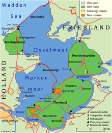 Map showing a large lake, with the dams and the polders that were built