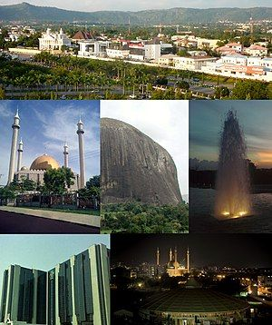 From top (L–R): View of a street in Maitama District, Abuja National Mosque, Zuma Rock, fountain in Millennium Park, Central Bank headquarters, and nighttime skyline of Central Business District, Abuja