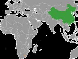 中国和莱索托在世界的位置