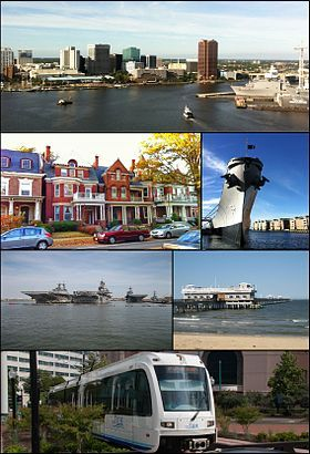 Clockwise from top: Downtown Norfolk skyline as viewed from across the Elizabeth River, USSWisconsin battleship museum, Ocean View Pier, The Tide light rail, ships at Naval Station Norfolk, historic homes in Ghent
