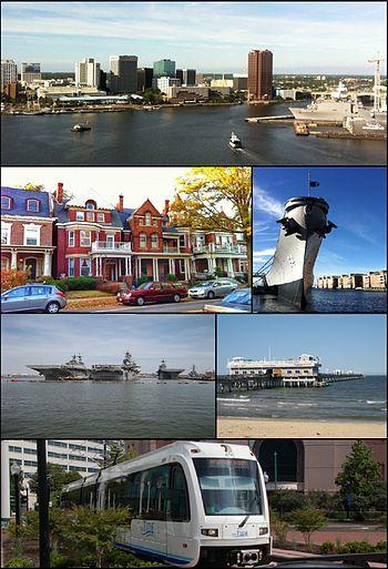 从顶部顺时针:伊丽莎白河、威斯康星号战舰 (BB-64)、海景码头、诺福克轻轨、诺福克海军基地、根特区的建筑