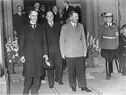 Chamberlain and Hitler leave the Bad Godesberg meeting, 1938