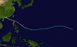 超强台风爱伦的路径图