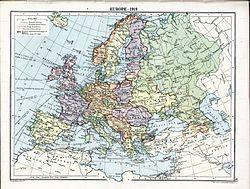 1919年欧洲地图,库班人民共和国位于俄罗斯(绿色)境内