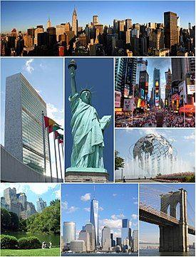 纽约意象:从上方顺时针依序为曼哈顿中城、时报广场、法拉盛草坪公园大地球仪、布鲁克林大桥、世贸一号楼、中央公园、联合国总部大楼、自由女神像