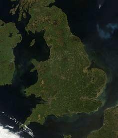 Satellite image of England